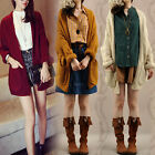 Womens Knitted Cozy Cardigan Sweater Batwing Sleeve Baggy Oversize Crochet Coat