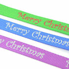 Merry Christmas Grosgrain Ribbon, 10mm - 5 Meters - Blue, Green or Purple