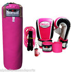 Morgan Boxing Punching Bag Womens Pink Gloves Hand Wraps MMA Jump Rope Filled