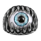 Gothic Punk Rock Style 316L Stainless Steel Mens Dragon Claw Evil Eye Ring