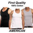 Lot 3-6 Mens 100% Cotton Tank Top A-Shirt Wife Beater Undershirt Ribbed Muscle