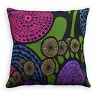LL413a Blue Mustard Fushcia Black Green Leaf Cotton Canvas Pillow/Cushion Cover