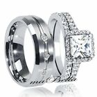Glossy His Tungsten Hers .925 Sterling Silver Sale Wedding Rings Band Set