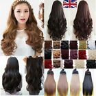 Real Feel Clip In Half Full Head Hair Extension Brown Blonde Black one piece