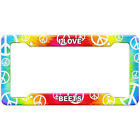 Tie-Dye Hippie License Plate Frame I Love Food A-B