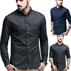 Men's Luxury Jeans Casual Dress Slim Fit T-Shirts Denim Long Sleeve Formal Shirt
