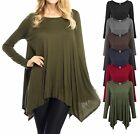 Women New Plus Size Women's Casual Dress Asymmetrical Tunic Top Dress