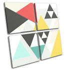 Geometric Triangles Abstract MULTI CANVAS WALL ART Picture Print VA