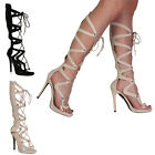 Womens Open Toe Lace Up Ladies Cut Out Knee High Stiletto Heel Shoes Size 3-8