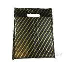 Strong Black and Gold Striped Plastic Carrier Bags Jewellery Fashion Gift Shop