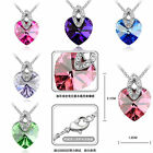 Fashion Jewelry Women Crystal Heart Pendent Silver Plated Long Chain Necklace