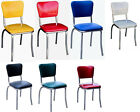 Retro Dining Kitchen Chairs Chrome 1950s Americana Heavy Duty Multiple Colors
