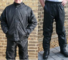 Waterproof Motorcycle Motorbike Two Piece Rain Over Jacket Pants Suits Black