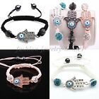 3 Colors Fashion Women Hamsa Protection Evil Eye Good Luck Bracelet Wristband