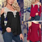 Sexy Women's Loose Casual V-neck lace Long Sleeve Off Shoulder Tops Blouse