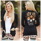 Hollow Out Skull Pattern T-Shirt For Women Blouse Stylish Long Sleeve Top