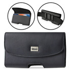 REIKO Leather Horizontal Pouch Holster Sideways Belt Clip Case for Samsung Phone