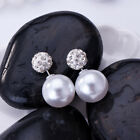 Luxury Jewelry Candy Double Sided Crystal Pearl Earings Disco Ball Ear Studs NEW