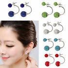 Women Girl's Jewelry Silver Plated Double Beads Crystal Rhinestone Stud Earring