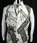 Men's Mossy Oak White Camo Tuxedo Vest Winter Brush with choice of tie Wedding