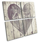 Shabby Chic Love Heart Vintage MULTI CANVAS WALL ART Picture Print