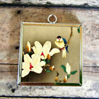 2x White LILY sparrow Art Glass Charm Pendant Necklace