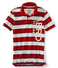 Aeropostale Mens Striped Embroidered Rugby Polo Shirt