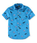 Hang Ten Mens Blue Flamingo Button Up Shirt