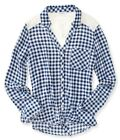 Aeropostale Womens Plaid Crochet Button Up Shirt