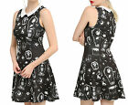 Nightmare Before Xmas White Collar Allover Print Sally Jack Zero Black Dress
