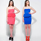 Women Ladies Bandeau Strapless Stretch Bodycon Mini Sexy Party Dress Top 8-14