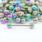 Rainbow Tongue Bar Straight Barbell Piercing Steel Eyebrow Tragus Nipple