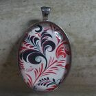 OVAL GLASS TILE PENDANT/FLORAL/BLACK AND RED