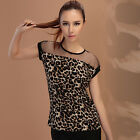 Womens Fashion Casual Leopard Short Sleeve Mesh Gauze Sheer Tops T Shirt Blouse