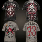 Affliction Men S/S T-Shirt DEATH SPADE American Customs REVERSIBLE Vtg S-3XL $58 image