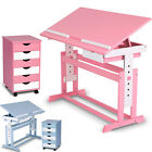 Child Draw Writing Table Desk + Drawer Side Cabinet Furniture Blue Pink Boy Girl