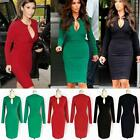 V-Neck Casual Ladies Long Sleeve Slim Fashion Party Cocktail Evening Dress