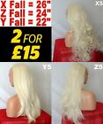 Pale BLONDE Long Curly Half Wig Hair Piece Ladies 3/4 Wig Fall Clip in #613L