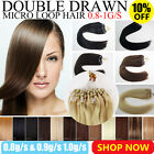 "16"" 18"" 20"" Double Drawn Remy Micro Loop Ring Human Hair Extensions 0.8g 1g 100s"