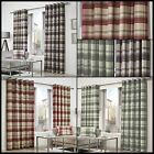 Brook Lined Curtains Checked Tartan Squares Ready Made Pair Eyelet Ring Top