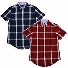 Tommy Hilfiger Buttondown Shirt Mens Custom Fit Plaid Short Sleeve Pocket Casual