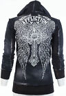 AFFLICTION Women Hoodie Sweatshirt ZIP UP Jacket ASCENSION Rhinestones Biker $88