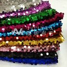 "1 meter by the yard 9mm Dense Sequins Mesh Fabric Solid Color 51"" width DIY #10"