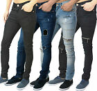 Mens AD Jeans Super Skinny Stretch Zip & Rip Repair Stretchable Denim Pants Size