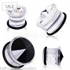 Clear Transparent Acrylic Plug Ear Lobe Stretcher Black or Clear Gem  3mm - 19mm