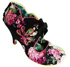 Irregular Choice Ri Oh Women's Black Tie Up Top Floral High Heel Court Shoes New