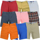 Tommy Hilfiger Mens Shorts Flat Front Chino Bottoms Classic Custom Flag Logo New