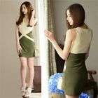 Two Tone Sleeveless Color Block Summer Beach Women's Stretch Bodycon Mini Dress