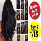 Black Clip in on Full Head Hair Extention Synthetic Remy Long Feel Like Human