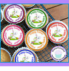 24 EASTER RABBITS MIXED DESIGN CUPCAKE TOPPER RICE, WAFER or ICING